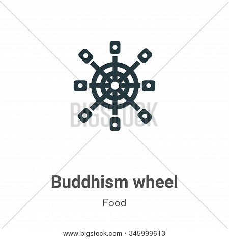 Buddhism wheel icon isolated on white background from food collection. Buddhism wheel icon trendy an