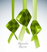 Vector 3D Muslim Ketupat Translation: Ramadan Kareen - May Generosity Bless You During The Holy Month poster