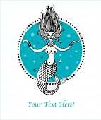 illustration with mermaid poster