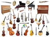 Different music instruments under the white background poster