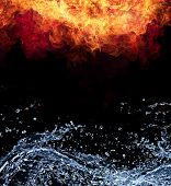 Water and fire connection, representation of elements. Isolated on black background poster