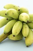 Organic delicious sweet miniature bananas with firm and creamy flesh. poster