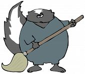 This illustration depicts a skunk wearing coveralls and using a mop. poster