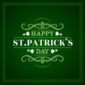 Happy St Patrick Day, Irish Celtic Holiday Greeting Lettering On Green Shamrock Clover Leaf Pattern