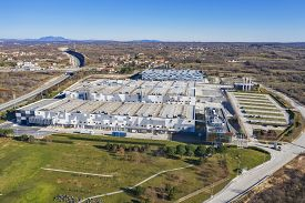 Kanfanar, Croatia - January 12, 2020: An Aerial Shot Of Modern British American Tobacco Factory In K