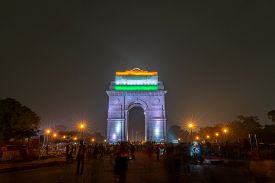 New Delhi, India - December 13, 2019: People In Front Of The Illuminated India Gate At Night.