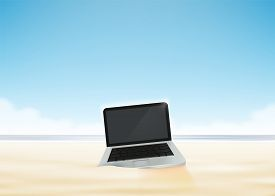 Laptop Computer In The Beach Sand. Vector