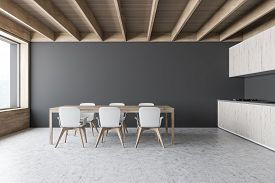 Gray Dining Room And Kitchen Interior