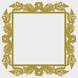 Golden Vintage Ornament Pattern Frame, Border Ornament Pattern Frame, Engraving Ornament Pattern Fra