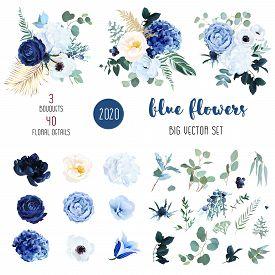 Classic Blue, White Rose, White Hydrangea, Ranunculus, Campanula, Anemone, Peony, Thistle Flowers, G