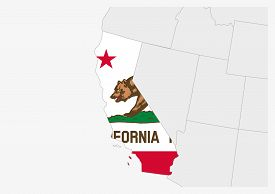 Us State California Map Highlighted In California Flag Colors, Gray Map With Neighboring Usa States.