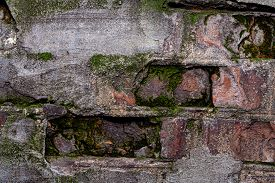 Old Brick Wall Covered With Moss Texture Background Close-up. Stock Photo Of An Old Rotten Wall.
