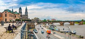 Dresden, Germany - September 22, 2014: Katholische Hofkirche On The Left And Semperoper On The Right