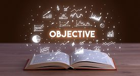 OBJECTIVE inscription coming out from an open book, business concept