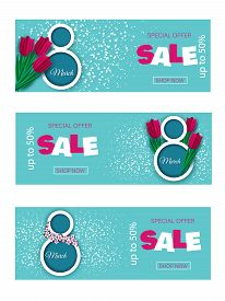 8 March holiday. Sale Invitations holiday. Set Happy Women's Day  holiday Background Horizontal Banner holiday Beautiful Holiday discount banners. International women's day poster. 8 number 3d illustration. Happy Mothers Day holiday. Eps10 vector holiday