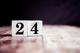 Number 24 Isolated On Dark Background- 3d Number Twenty Four Isolated On Vintage Wooden Table