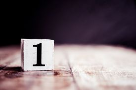 Number 1 Isolated On Dark Background- 3d Number One Isolated On Vintage Wooden Table
