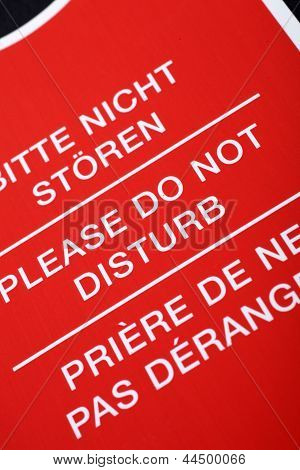 'do Not Disturb!' Sign In Different Languages