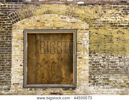 Old Brick Wall With Boarded Up Window 2