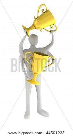 3D Multihanded Man With A Gold Trophys In Hands