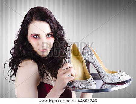 Gorgeous Retail Fashion Girl Selling Luxury Shoes