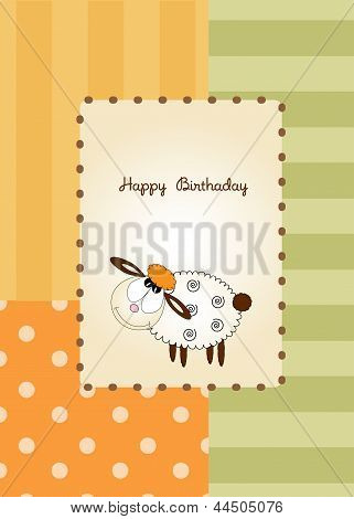 cute baby shower card with sheep vector illustration poster