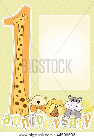 first birthday card, illustration in vector format poster