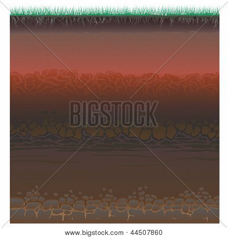 A cut of soil (profile) with a grass rootslayers of the earth clay and stones (Vector illustration). poster