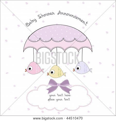 delicate baby shower card, illustration in vector format poster