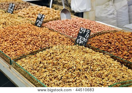 Assortment Of Nuts And Almonds On Market Stand