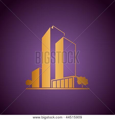 Golden apartments over purple
