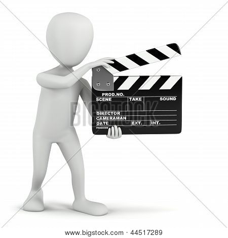 3D Small People - Cinema Clapper.
