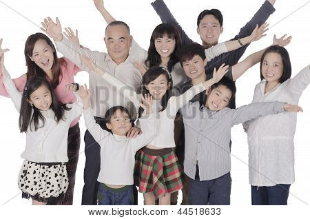 Multi generation family happiness raise  their hands