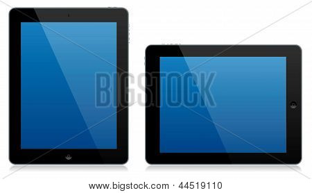 Modern Tablet Computer Landscape And Portrait Isolated