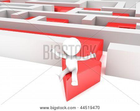 3d man walked Path across labyrinth