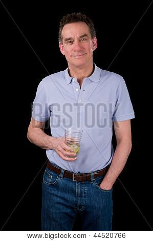 Handsome Smiling Middle Age Man Holding Drink