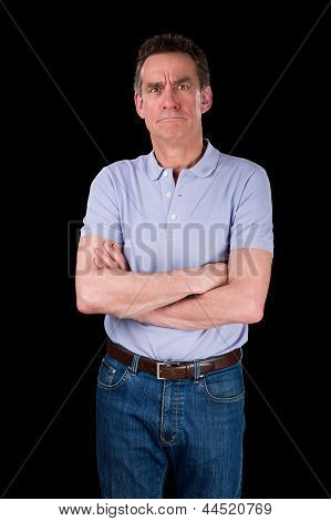 Angry Frowning Grumpy Middle Age Man With Arms Folded