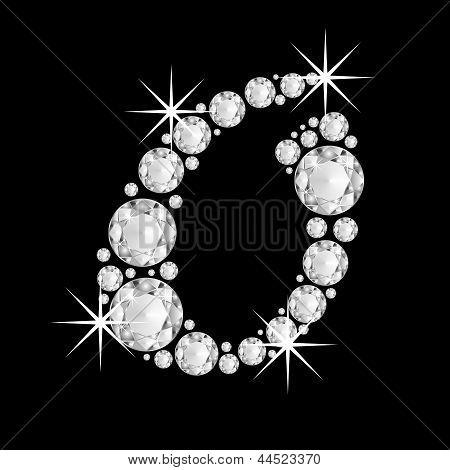 Luxury jewelry alphabet diamonds O