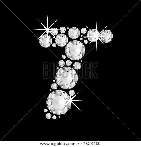 Luxury jewelry alphabet diamonds T