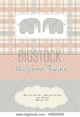 twins baby shower card with two elephants poster
