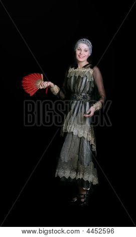 Happy Lady With A Red Fan