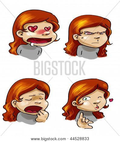 Cartoon Girl's Moods