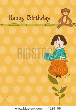 Greeting Card With A Baby Sitting On A Flower