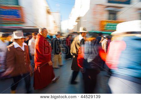 Tibetan Pilgrims Walking Barkhor Jokhang Blur