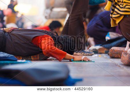 Tibetan Pilgrim Prostrating Flat Ground Jokhang