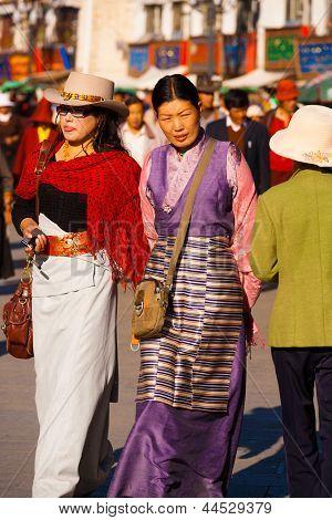Well-dressed Tibetan Women Barkhor Walking