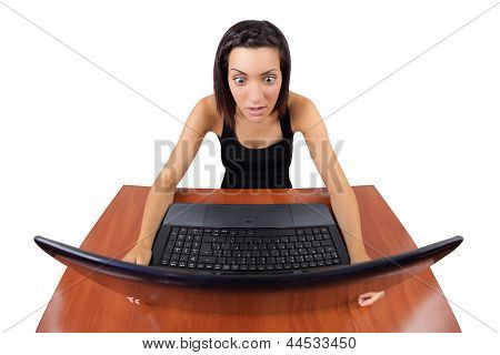 Girl Surprised Looking At Laptop Screen