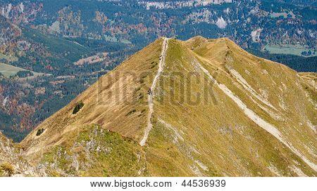 Trekking On A Ridge In The Allgaeu
