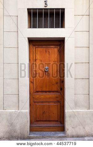Single Wooden Door With Knocker On Sarri� Quarter (barcelona)