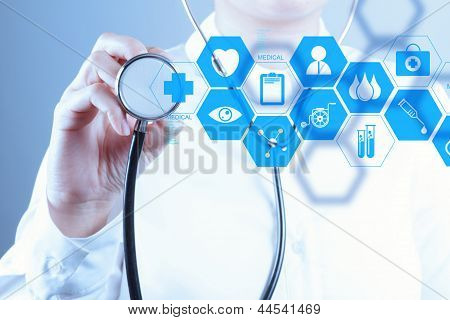 Medicine Doctor Hand Working With Modern Computer Interface